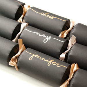 Personalised Black And Metallic Handwritten Crackers - crackers