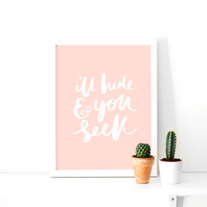 'I'll Hide You Seek' Typographic Print