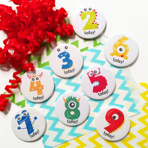 Monster Age Birthday Badge - pins & brooches