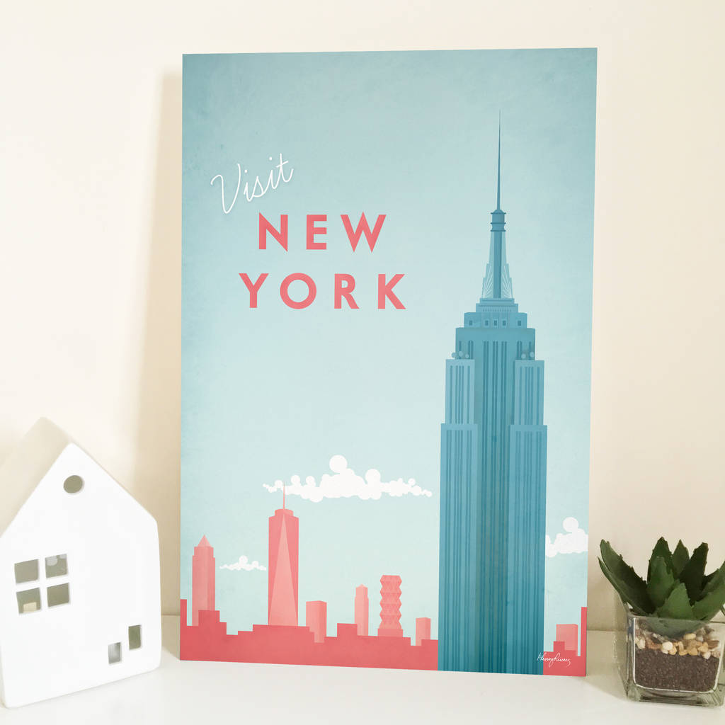 39 visit new york 39 travel poster by copper prints. Black Bedroom Furniture Sets. Home Design Ideas