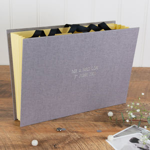 Personalised Wedding Planner File Grey Linen