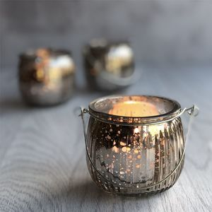 Silver Lustre Tea Light Holder - home accessories