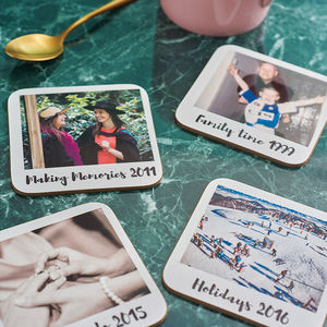 Personalised Polaroid Style Drinks Coasters - gifts for her
