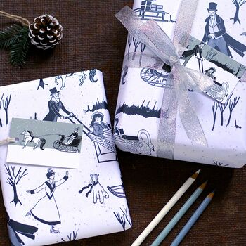 Victorian Ice Skating Christmas Wrapping Paper