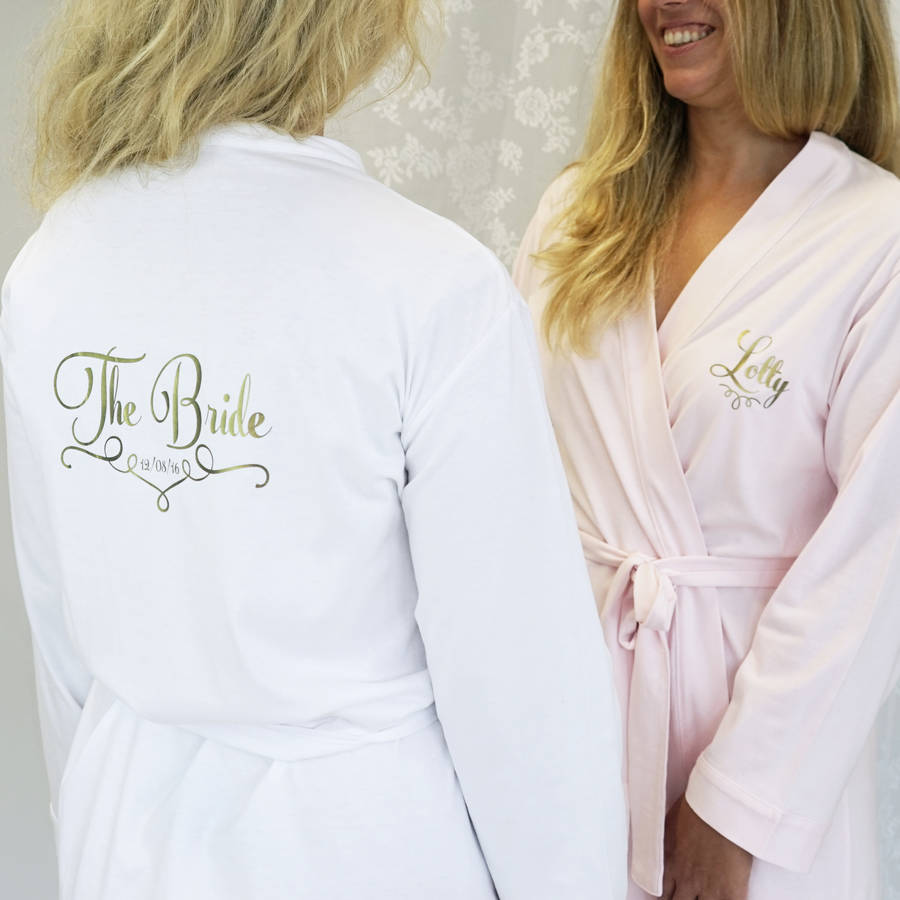 personalised wedding dressing gown for a bridesmaid by sparks and ...