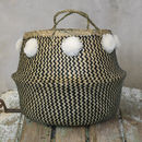 Handwoven Monochrome Basket With Pom Poms