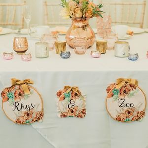 Vintage Floral Personalised Fabric Wedding Decoration - room signs