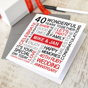 Personalised Ruby Wedding Anniversary Card - cards