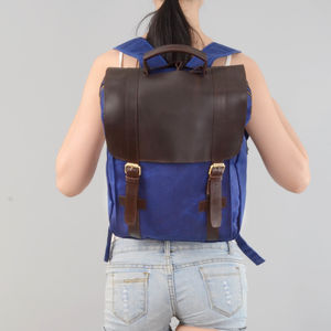 Ladies Waxed Canvas And Leather Backpack