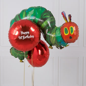 Inflated Personalised Hungry Caterpillar Balloon Bunch