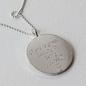 Sterling Silver Large Engraved Necklace