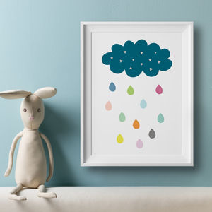 Cloud And Colour Rain Drops Nursery Art Print - nature & landscape