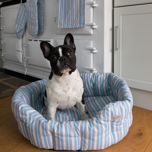 Malvern Lapis Stripe Pet Bed - beds & sleeping