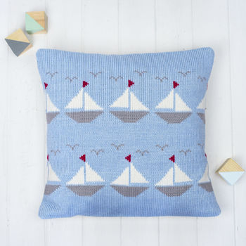 Personalised Knitted Boats Cushion