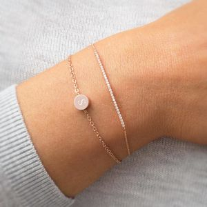 Personalised Fia Initial Disk Bracelet - rose gold jewellery