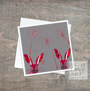 Little Hare Greeting Card With Poppies