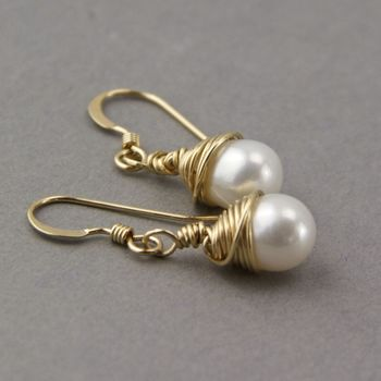 Wrapped Gold And Teardrop Pearl Earrings