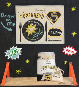 Kids Chalkboard Placemat Superhero Design - tableware