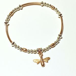 Rose Gold Bracelet With Little Bee Charm - bracelets & bangles
