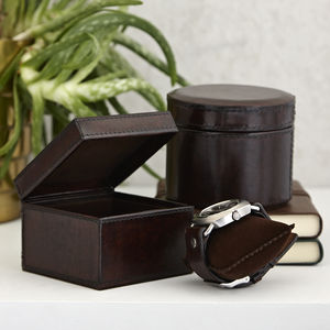 Leather Watch Box Single Round Or Square - watch storage