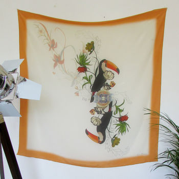 'Toucan' Illustrated Silk Scarf