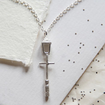 Silver Lamp Post Necklace