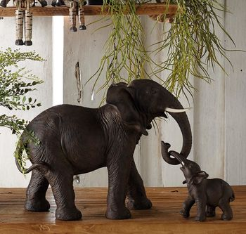 Large Mother And Daughter Elephant Decoration