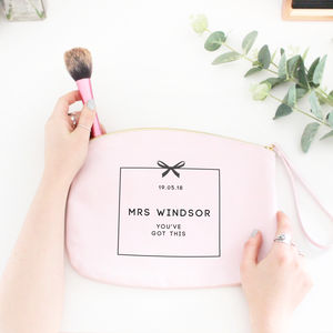 Personalised 'Mrs' Wedding Make Up Essentials Bag