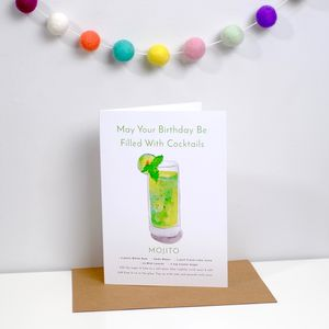 Cocktail Birthday Card Mojito