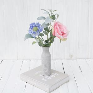 Garden Rose In Cement Type Vase - home accessories