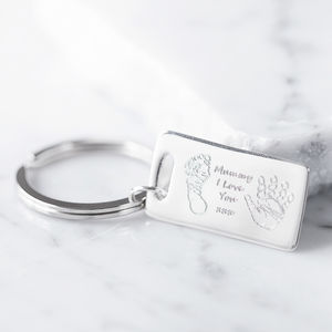 Personalised Engraved Hand And Foot Print Key Ring