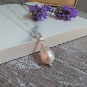 Pearl Drop Bridal Silver Necklace