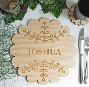 Personalised Placemat Wooden Ginger Bread Cookie