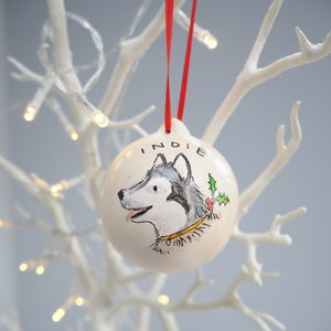 Dog's Christmas Bauble Decoration Portrait