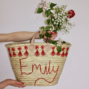 Personalised Name Embroidered Basket - totes