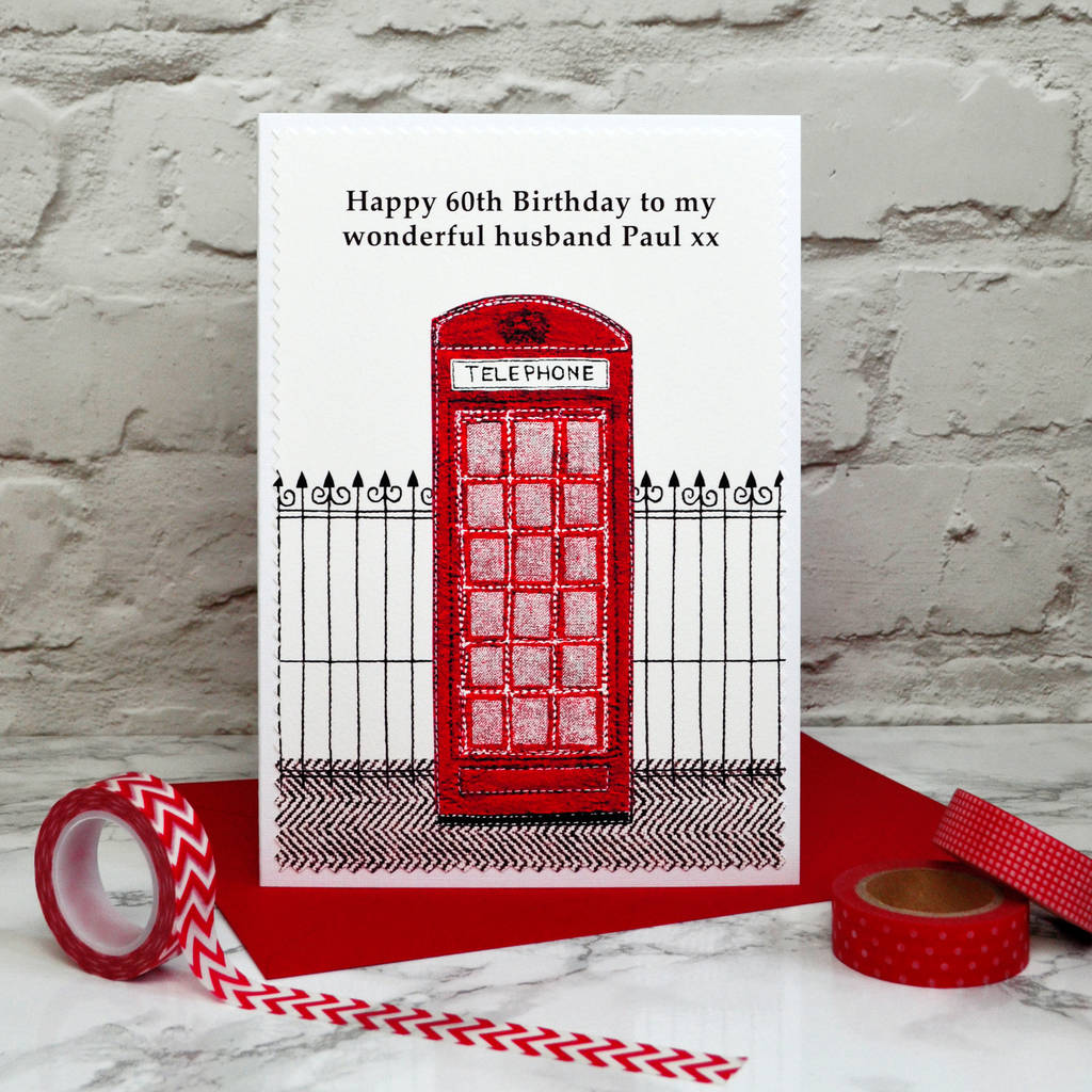 telephone box personalised birthday card by jenny arnott cards – Personalised 60th Birthday Cards Husband