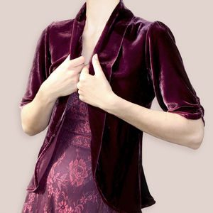 Jacket In Rosewood Silk Velvet - coats & jackets