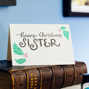 To My Sister Letterpress Christmas Card