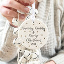 Personalised Mummy, Daddy And Bump Christmas Bauble