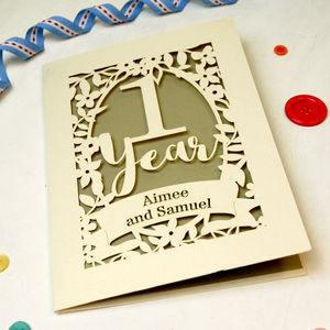 Papercut One Year Paper Anniversary Card In Cream - anniversary cards