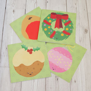 Christmas Cards Pack Of Four - cards & wrap