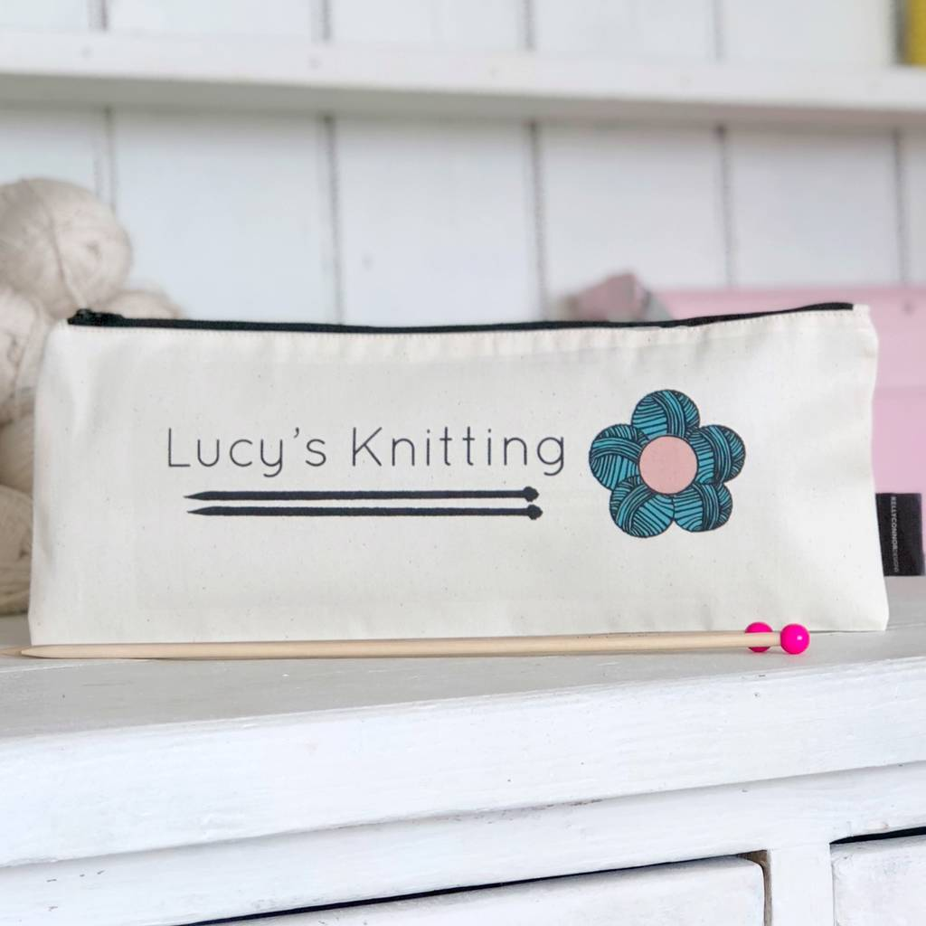 Floral Personalised Knitting Needle Bag