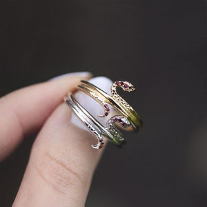 Dainty Ruby Snake Ring In Silver Or Gold - rings