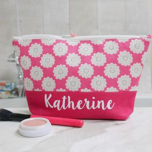 Personalised Daisy Design Make Up Bag - make-up & wash bags