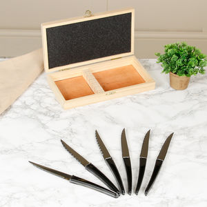 Set Of Six Titanium Knives In Wooden Box - tableware