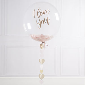 Personalised Mink Heart Confetti Bubble Balloon