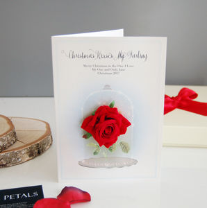 Fairytale Personalised Special Red Rose Christmas Card - christmas sale