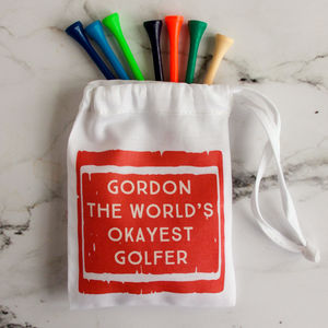 Personalised 'World's Okayest Golfer' Bag Of Golf Tees - outdoor toys & games