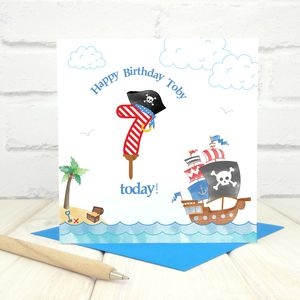 Personalised 7th Birthday Pirate Card