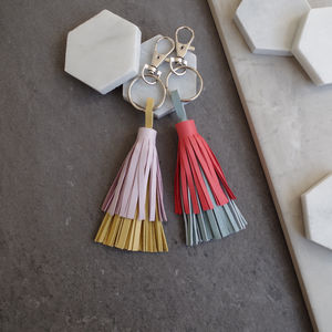 Leather Tassel Double Layered Keyring